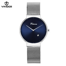 VINOCE Simple Top Brand Luxury Watches Women Stainless Steel Mesh Belt Calendar Quartz Ladies Wristwatches Reloj Mujer #V9369