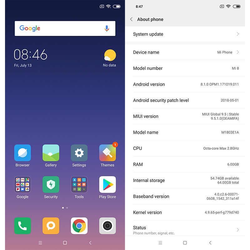Оригинальный мобильный телефон Xiaomi mi 8 mi 8, 6 ГБ ОЗУ, 64 Гб ПЗУ, Восьмиядерный процессор Snapdragon 845, 6,21 дюймов, 18,7: 9, полный экран, фронтальная камера 20 МП, NFC