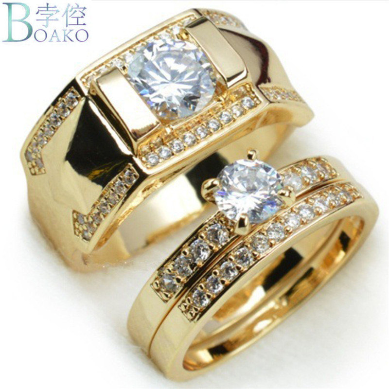 BOAKO 2018 Fashion Gold Color Wedding Couple Ring Band Cubic Zirconia Engagement Rings Set Lovers His And Her image