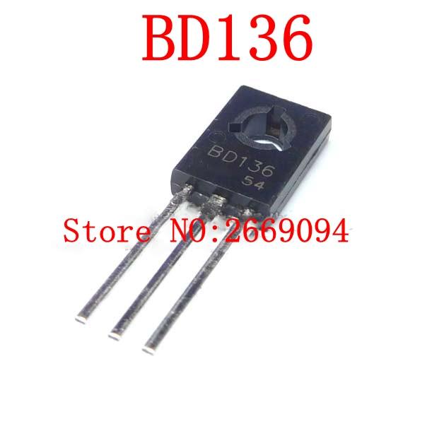 10X BD136 Transistor PNP bipolar 45V 1,5A 12,5W TO126 CDIL