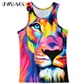Uwback 2017 New Summer 3D Print Colored Tiger Vest Men Novelty O-neck Tank Tops CAA523