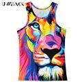 Uwback 2017 nova verão 3d impressão tigre colorido colete homens novidade o-neck regatas caa523