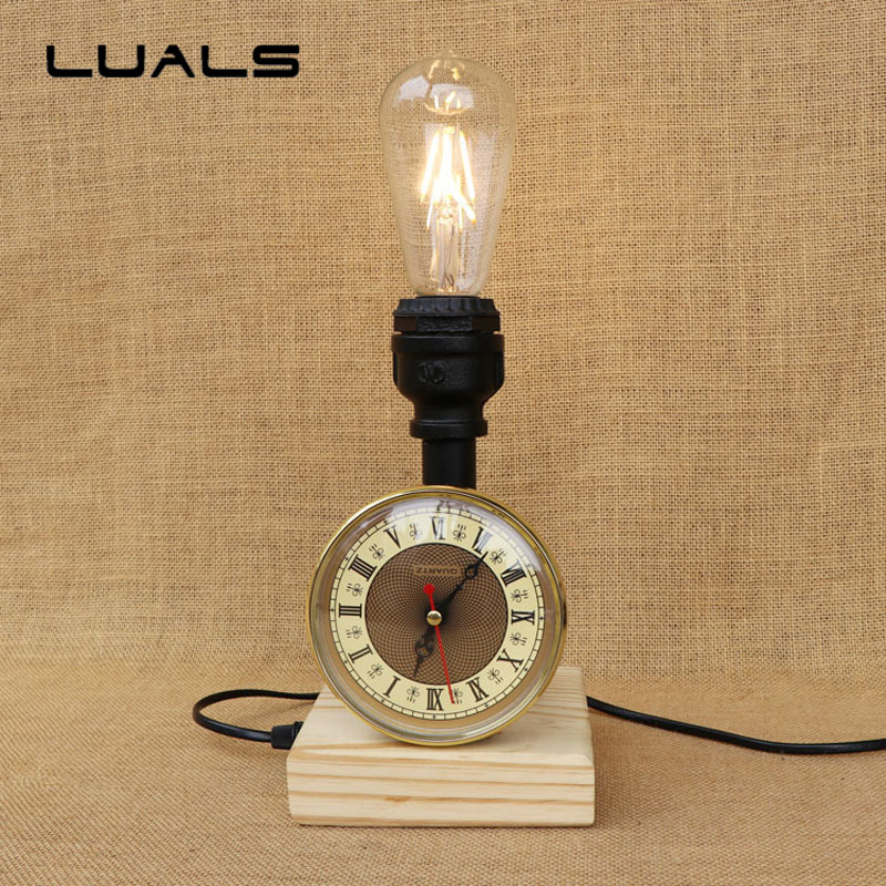 Loft Vintage Table Lamp Water Pipes Desk Light Cafe Bar Table Light Contain LED Bulbs Industrial Style mesa Art Deco Lighting american style retro table lamp wooden base desk light contain led bulbs cafe bar table lamps industrial mesa art deco lighting