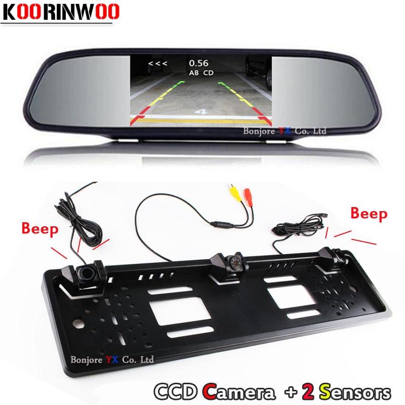 Koorinwoo Auto 4.3 polegada Monitor de Alarme Espelho Parktronic EU Europeu Placa Do Carro Quadro Retrovisor Câmera Do Carro Sensores de estacionamento