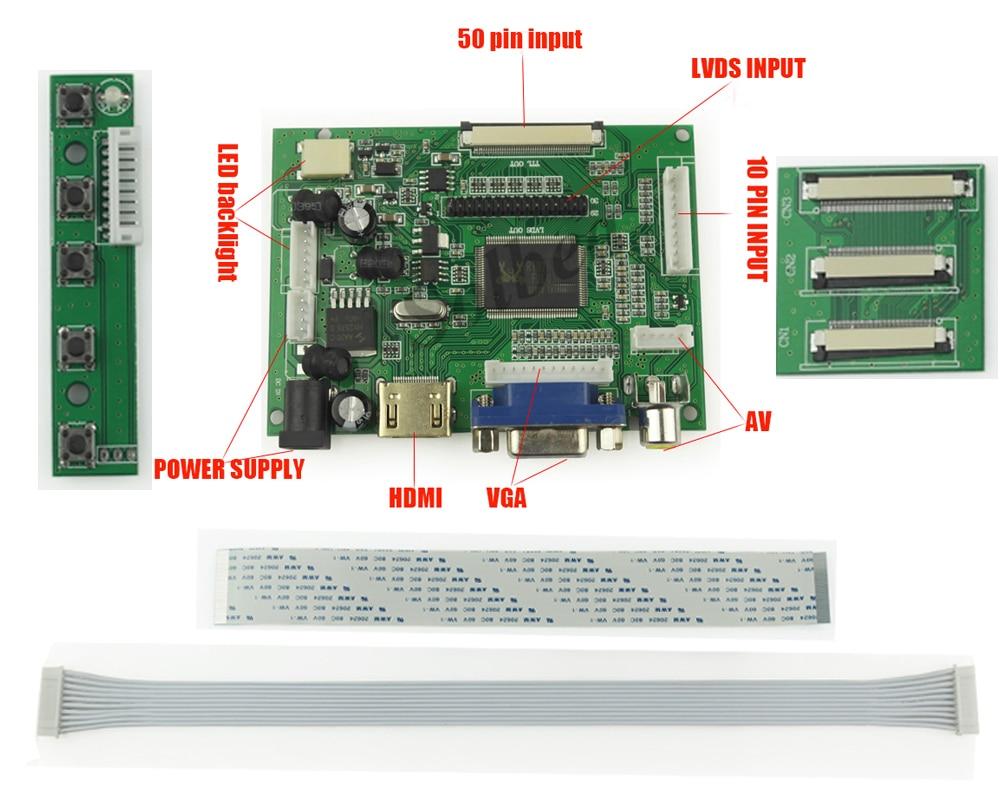Vga Cable Wiring Diagram 15 Pin Att U Verse 1pc Universal Hdmi 2av 50pin Ttl Lvds Controller Board Module Monitor Kit For Raspberry Pi ...