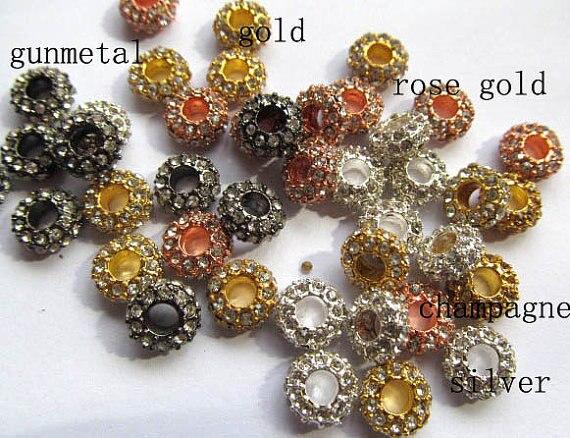 Großhandel 5x12mm 100 stücke rondelle strass kristall perle silber gold gunmetal grau sortiment schmuck perlen - 3