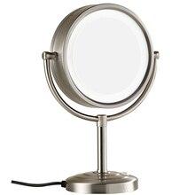 8,5 дюймов 10X увеличительное двустороннее Vanitys освещенные зеркала для макияжа стоя на туалетном столике никелевая отделка, 7x Увеличение