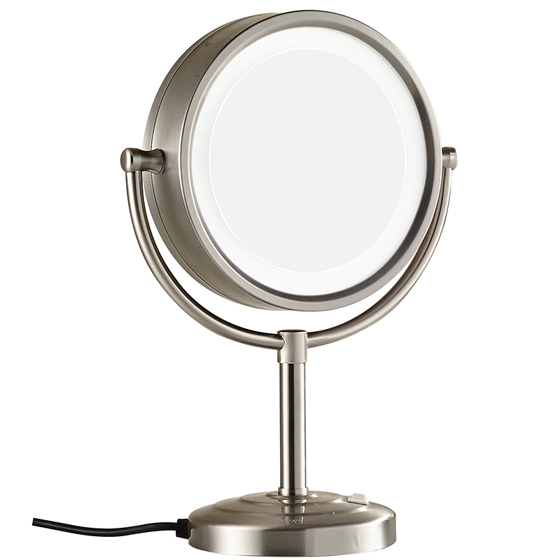 8.5 Inch 10X Magnifying Double sided Vanitys Lighted Makeup Mirrors Standing on Dressing Table Nickel Finish, 7x Magnification alhakin 7 inch led table mirror silver chrome uv finish 10x magnification d710 makeup mirrors cosmetic beauty with ce approved