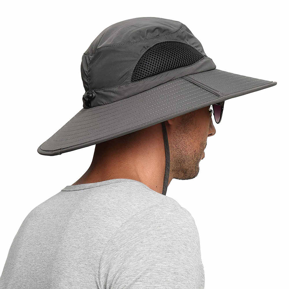 387e418bb96 High quality UPF 50+ Summer Wide Brim Bucket Hat Waterproof Breathable  Packable black Men Boonie