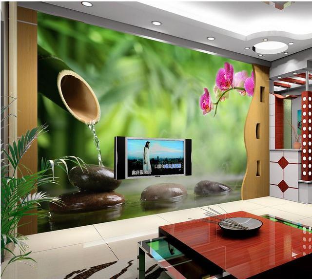 3d Tapete Fur Zimmer Grun Bambus Schmetterling Orchidee Hintergrund