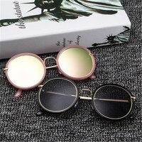 Mode Ronde bordure Épaisse Femmes lunettes de soleil Réfléchissant UV400 lentilles Hommes Vintage Noir cercle Cadre lunettes de soleil lunettes Lunettes