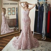 Spaghetti Backless Long Memriad Pink Lace Evening Dress V Neck Robe Soiree Longue Femme Abiye Gece Elbisesi Long Dresses Evening