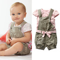 Summer clothes for baby girls pink flowers shirt + green overall + ribbon headband soft Cotton Baby Clothing Sets