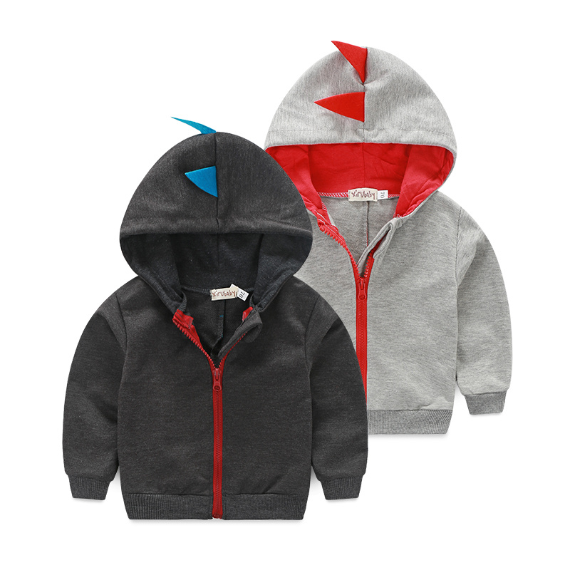 Children Clothes Active Baby Boys Coat Warm Hoodie Jacket Fashion Zipper Coat Cartoon Dinosaur Long Sleeve Outerwear 2 Colors
