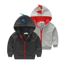 Youngsters Garments Lively Child Boys Coat Heat Hoodie Jacket Trend Zipper Coat Cartoon Dinosaur Lengthy Sleeve Outerwear 2 Colours