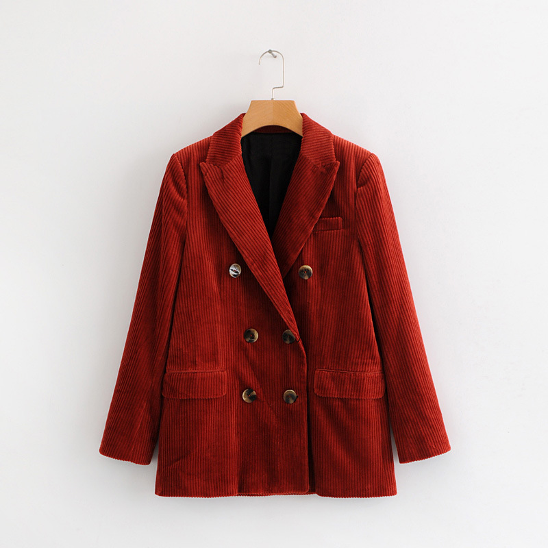 Corduroy Double-breasted Jacket Top Autumn and Spring European Women