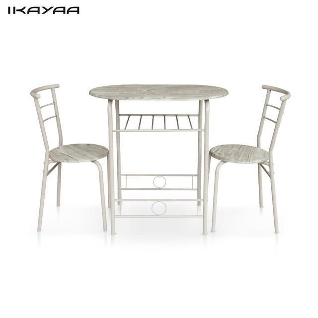 IKayaa Moderno Juego De Comedor Estructura de Metal 3 UNIDS Desayuno ...