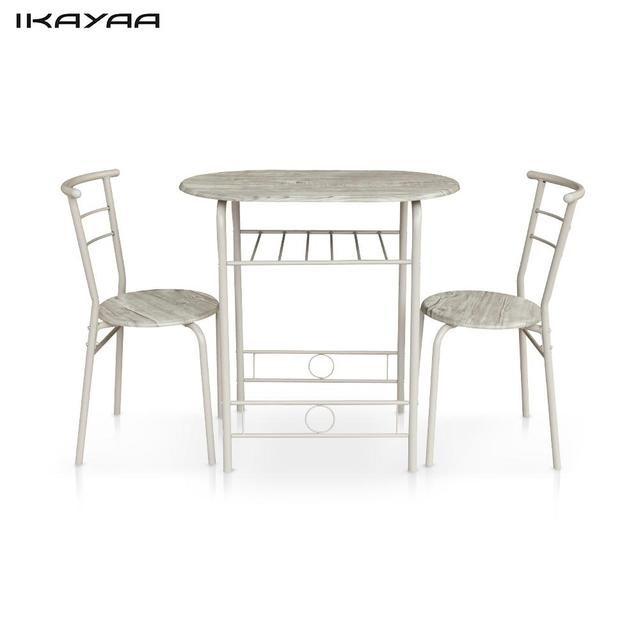Ikayaa Modern Dining Set Metal Frame 3pcs Breakfast Table With 2 Chairs Compact Kitchen