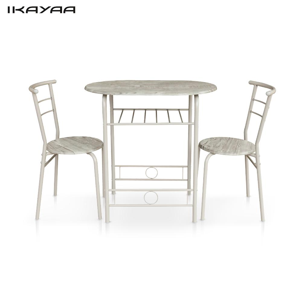 IKayaa Modern Dining Set Metal Frame 3PCS Breakfast Table With 2 Chairs Compact Kitchen US UK FR DE Stock