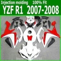 Full plastic part For YAMAHA YZF R1 07 08 ( Red white ) Fairings Injection Molded fairing kit TL71