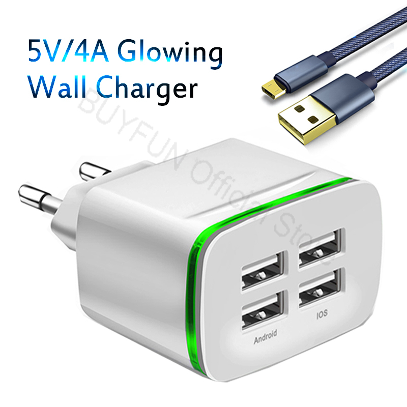 5V/4A Quick Charge Wall Charger Cable Phone Charger Fast Charging Micro-USB Cable For Sa ...