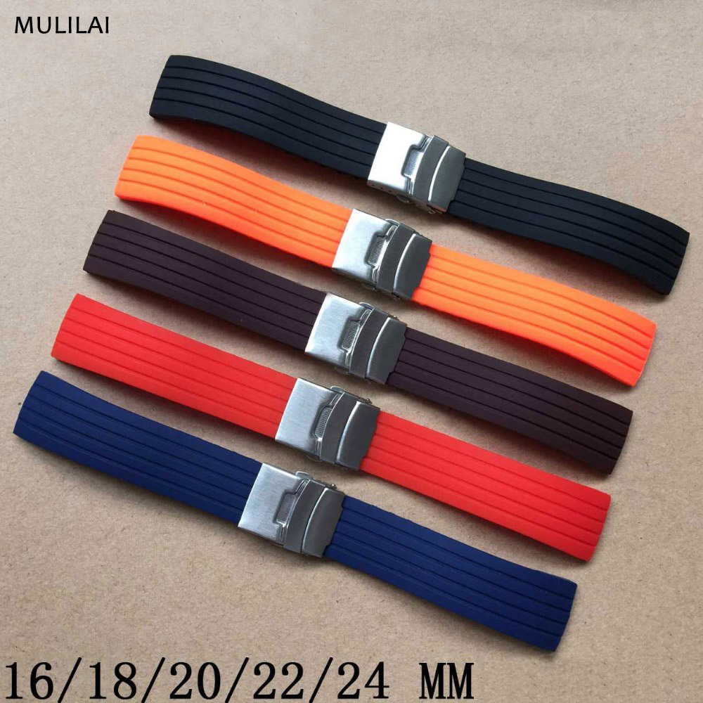 Essential 16mm,18mm, 20mm, 22mm, 24mm 5 colors New Silicone Rubber Watch Strap Band Deployment Buckle Waterproof BLack Watchband silicone rubber watchband 20mm men women black green 7 colors strap watch band waterproof for wristwatches 16 18 20 22 24mm