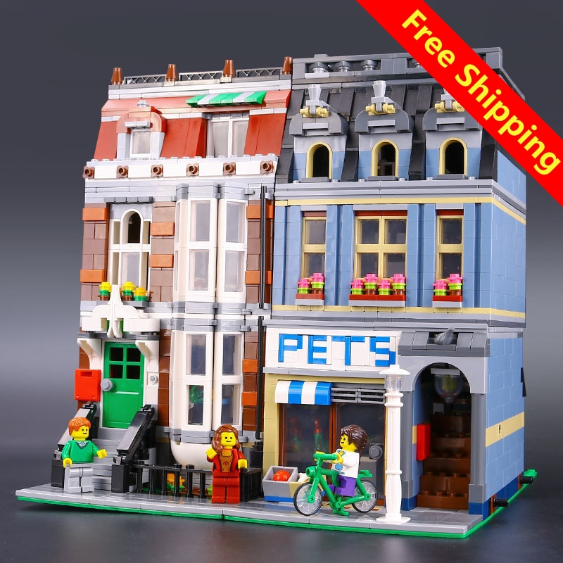 LEPIN 15009 City Street set Pet Shop Model legone Building Kits Blocks action bricks toy 10218DIY Educational Gift for Girl lepin 15009 city street pet shop model building kid blocks bricks assembling toys compatible 10218 educational toy funny gift
