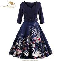 SISHION Yeni Kadın Elbise 2017 Yarım Kollu Baskı Artı Boyutu salıncak Vintage Elbise Şarap Kırmızı Lacivert Zarif Siyah Elbiseler VD0423