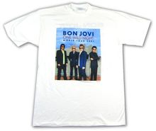 Bon Jovi One Wild Night World Tour White T Shirt New Official Band Merch NOS 2019 Short Sleeve Casual T-Shirt Tee