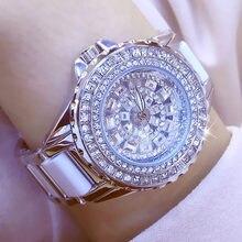 33474ae53 أزياء السيدات المعصم الساعات الفاخرة العلامة التجارية كريستال اللباس النساء  ووتش التسلق الماس حجر الراين السيراميك ساعة اليد ساع.