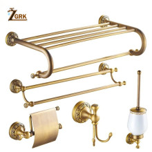 ZGRK All Copper Brushed Bathroom Series European Modern Towel Ring Toilet Paper Holder Cup Robe Hook Hardware