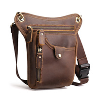 Brand Men Crazy Horse Oil Waxing Genuine Leather Fanny Waist Bag Pack Male Belt Loop Hip