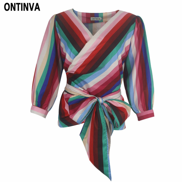 a4f149ea015 2018 Fashion Rainbow Color Striped Blusas with Bow Belt 3XL Plus Size Women  Sexy V Neck Shirts Casual Femininas Blouses Tops