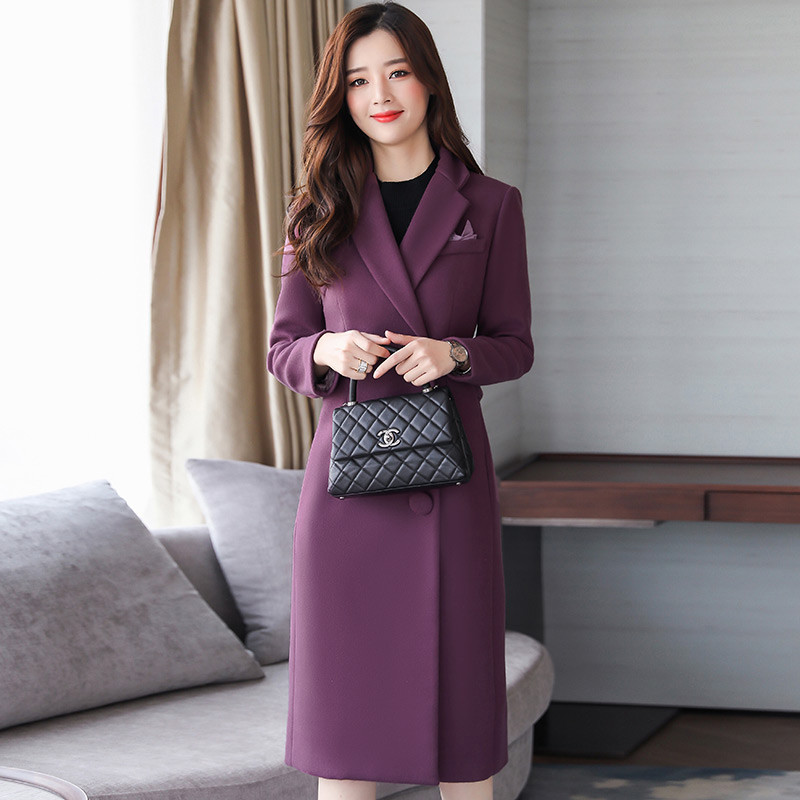 Colour navy Dames Cw441 Nouveau Survêtement Mince Laine Slim Moyen De Qualité Single breasted Manteau Long Purple Femmes Femme caramel 2018 Automne Était Haute RAUBqT