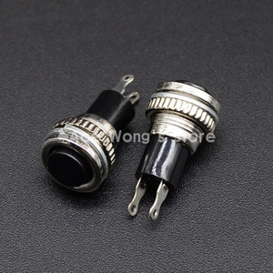 5pcs/LOT black 10mm Thread Multicolor 2 Pins Momentary Push Button Switch 3A/125V 1A/250V DS-316