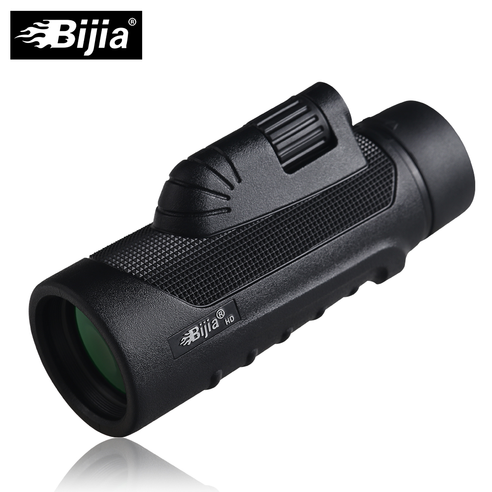 BIJIA 10x42 Monocular High Quality Vision Telescope for Hunting High Power Monocular with BaK4 Prism aomekie 10x42 monocular bak4 prism fmc optical lens high power hunting camping telescope compact spotting scope waterproof