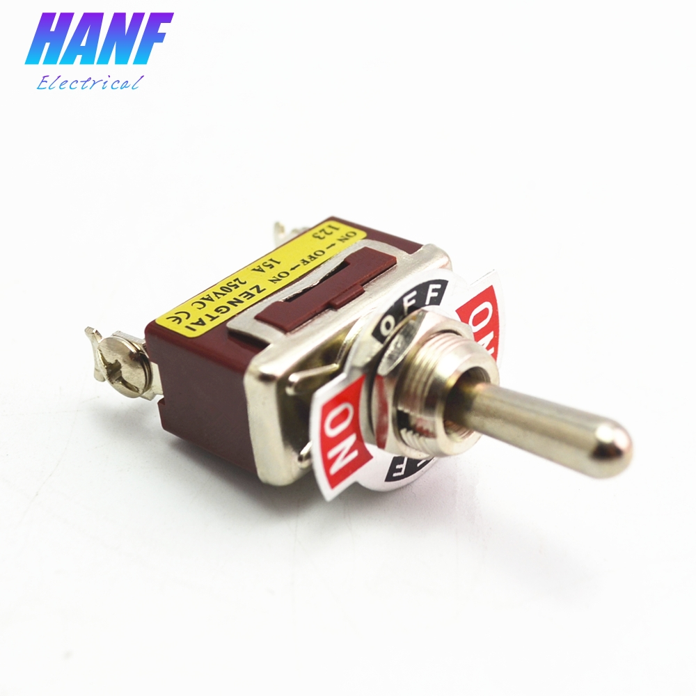 цена на 1pcs 12mm Momentary Toggle Switch 3 Screw (ON)-OFF-(ON) Rocker Switch SPDT 250V 15A E-TEN123
