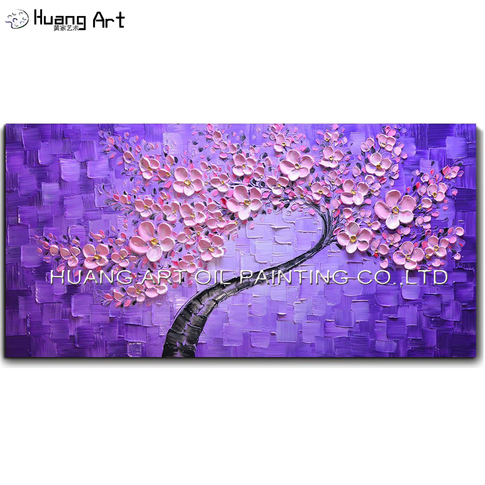 Ručně malované abstraktní nůž olejomalba pro obývací pokoj nebo ložnice dekorace moderní růžový květ strom malby