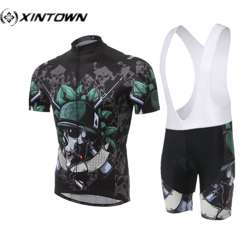 XINTOWN Cycling Jersey sets Cool Mens Skull Soldier cycling clothes china Ropa Ciclismo motocross pants Bicycle Cycling