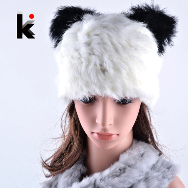 2017 New winter women skullies cap female real rex rabbit hat lovely panda beanie hats for woman