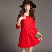 Elegant Maternity Dresses Red Black Lace Stitching Bow Three Quarter Sleeve Pregnant Party Dress Autumn Pregnancy