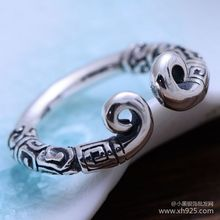 KJJEAXCMY fine jewelry 925 Sterling silver jewelry restoring ancient ways taiyin the holy hoop magic female style ring