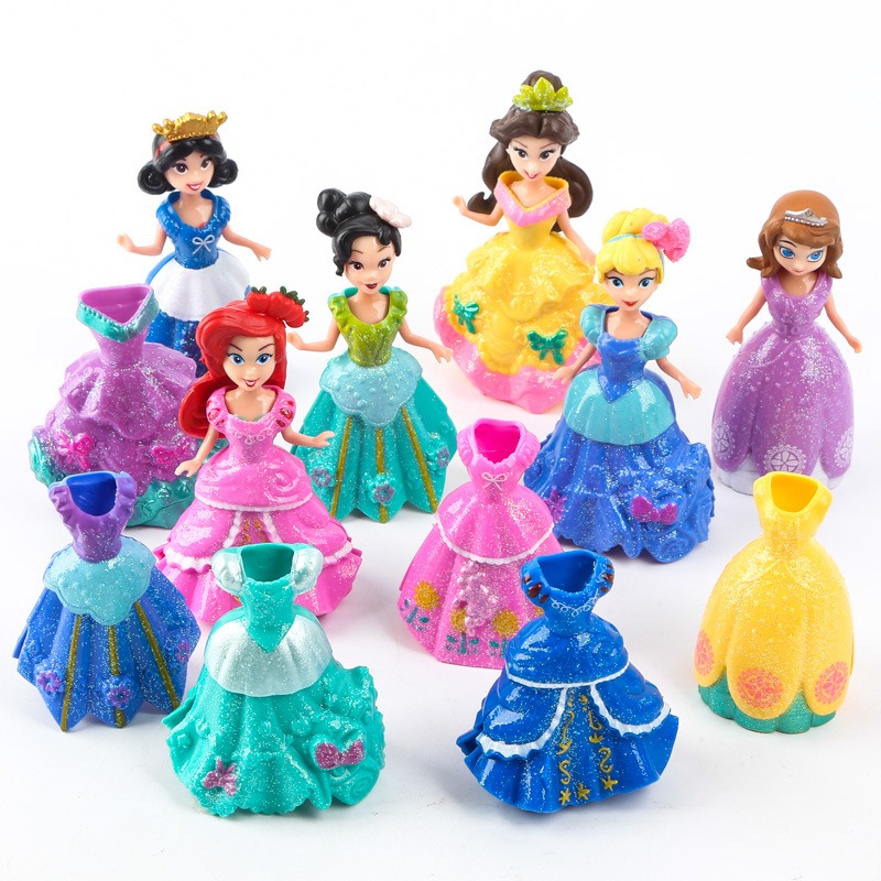 цена ThinkEasy 18 pcs/set Kid my cute little Anna and Eelsa Sofia Princess 6 dolls + 12 dress Toy Action poni Unicorn vinyl dolls