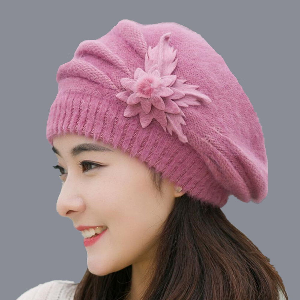 2018 Winter Rabbit Fur Ski Cap Hat Female Beanie With One Pieces Flowers Winter Wool Cap For Ladies Hot Sale Clothing Set