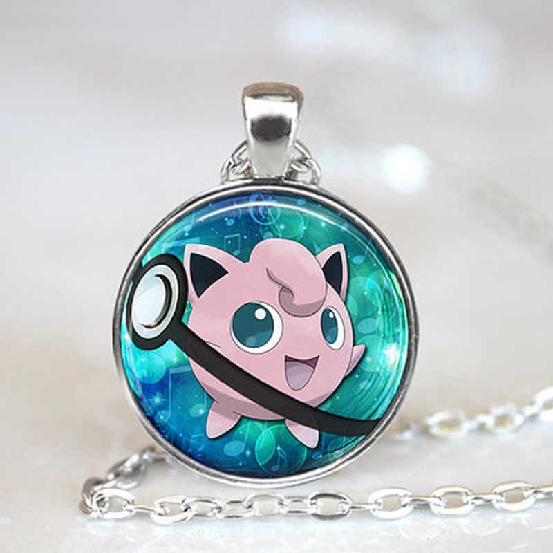 2016 New Fashion Pokemon Anime Jewely Jigglypuff Pokeball Collares Photo Glass Dome Long Necklace