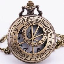 Planétarium Vintage Antique Rétro Archaize Steampunk Creux Quartz Montre De Poche Hommes Unisexe Pendentif Chaîne Horloge Cadeau Fob Montres
