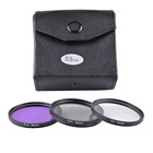 Universal 4in1 Set 49mm 52mm 55mm 58mm 62mm 67mm 72mm 77mm UV + CPL + FLD Lens Filter w/ Wallet Bag Case Pouch for Camera DSLR
