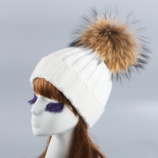 79332285031977 mink and fox fur ball cap pom poms winter hat for women girl 's wool hat  knitted cotton beanies cap brand new thick female hats