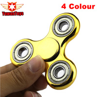 Gold Plating Tri-Spinner Fidget Toy Hand Spinner For Kids Autism and ADHD Rotation 2 Mins Stress Relief Handspinner Toys Gift