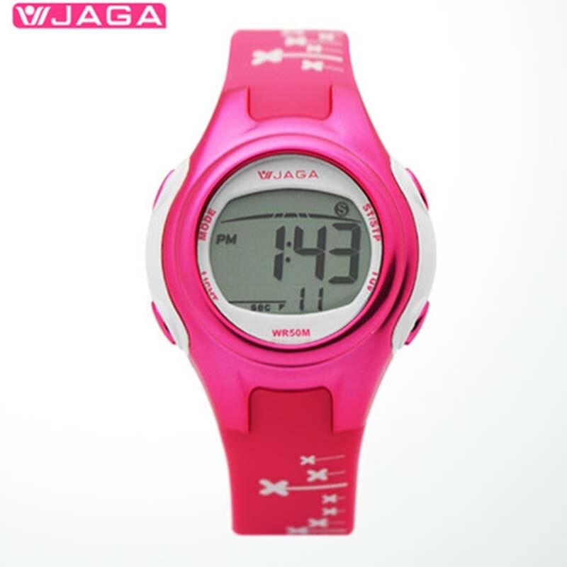 JAGA 여자 스포츠 시계 다기능 전자 시계 50 미터 방수 시계 여성 M1061 다이빙 스포츠 시계